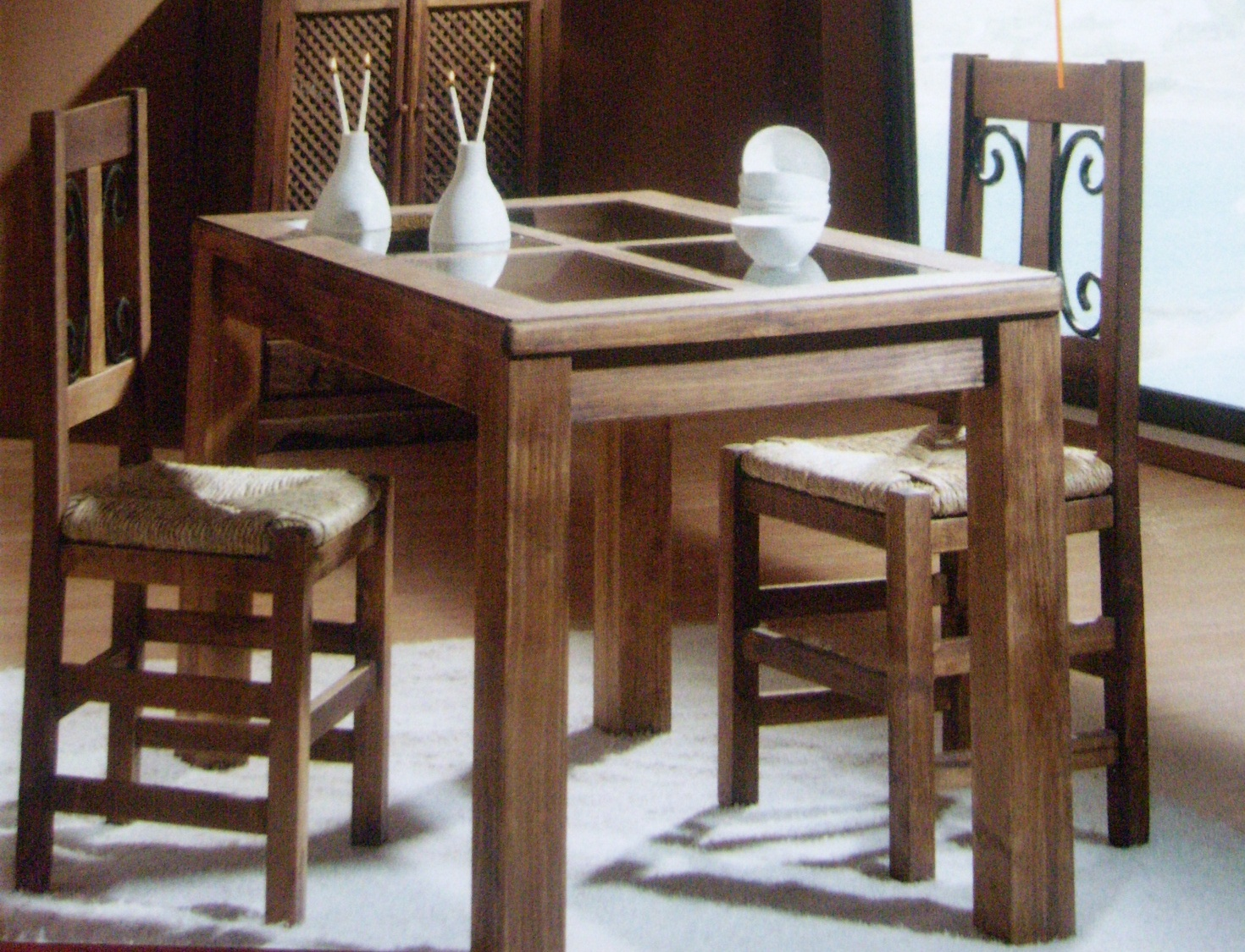 Mesas y sillas rusticas de madera mesa sillas de cocina for Mesas y sillas de madera para cocina